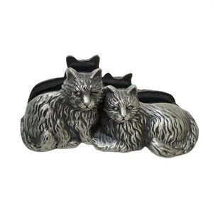 Pewter Cat Kitty Photo Business Card Letter Holder